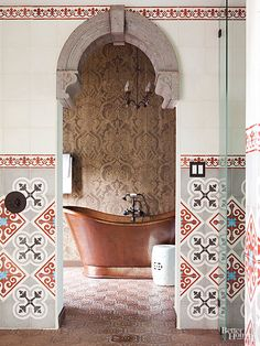 Moroccan accents and curvaceous elements bring Mediterranean style into the modern age. Pair a curvy mirror, bathtub, or faucet with clean, straight lines for contemporary contrast. Arabesque or hand-painted tile gives a pretty nod to the style.