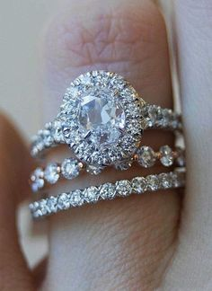 Wedding Rings Engagement Rings : Picture Description 39 Great Bands And Wedding Rings For Women That Admire ❤️ wedding rings for women oval cut halo diamond set ❤️ See more: www. Wedding Rings Simple, Wedding Rings Solitaire, Beautiful Wedding Rings, Wedding Rings Vintage, Engagement Wedding Ring Sets, Halo Diamond Engagement Ring, Wedding Rings For Women, Bridal Rings, Vintage Engagement Rings