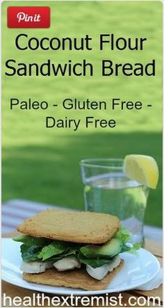 Coconut Flour Bread Recipe Makes Perfect Sandwich Bread is part of Sandwich bread Glutenfree - This coconut flour bread recipe is easy and quick to make It's a perfect paleo gluten free sandwich bread and tastes delicious! Also yummy with a spread Real Food Recipes, Diet Recipes, Cooking Recipes, Healthy Recipes, Banting Recipes, Bread Recipes, Healthy Food, Coconut Flour Bread, Coconut Flour Recipes