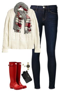 """Plaid scarf, cable knit sweater & hunter boots"" by steffiestaffie ❤ liked on Polyvore featuring Frame Denim, H&M, Hunter, Steve Madden, Carolee, Marc by Marc Jacobs and Coach"