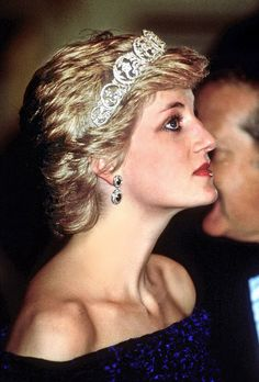 The Spencer family tiara was Princess Diana's favorite and she wore it on her wedding day. It features large gold scrolling foliage adorned with tulips, stars and a central heart, each decorated with diamonds and set in silver. A similar headpiece was recently sold by the family for £185,000