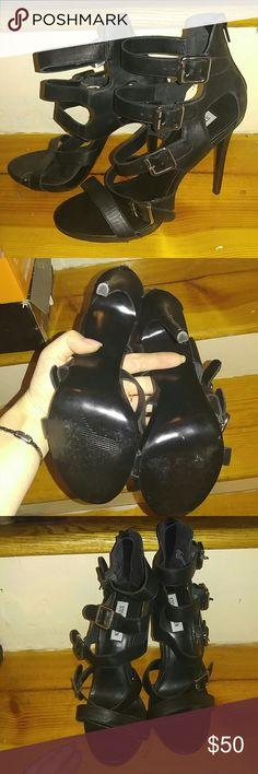 Black buckle strap heels Steve Madden Black buckle strap heels Steve Madden Shoes Heels