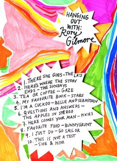 Rookie Mag, Friday Playlist - Hanging out with Rory Gilmore, Illustration by Minna. Sound Of Music, Music Is Life, New Music, Music Mood, Mood Songs, Gilmore Girls Music, Gilmore Girls Soundtrack, Rory Gilmore Style, Music Recommendations
