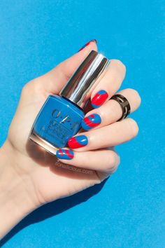 Blue and red nails, OPI Infinite Shine