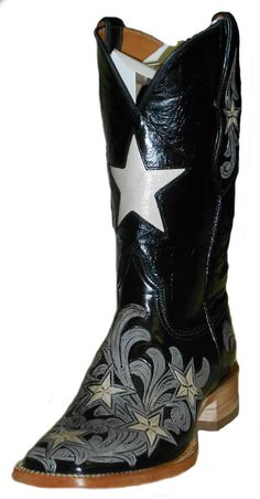 Ladie's Tooled Leather Black Jack Boot