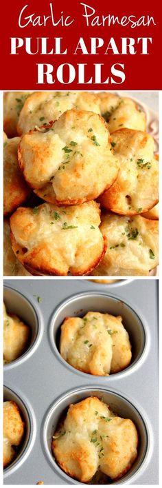 Garlic Parmesan Pull Apart Rolls Recipe - easy, perfectly cheesy and garlicky rolls! You will love these as an appetizer or to go with pasta dinner or soup! Pull Apart Rolls Recipe, Pull Apart Garlic Rolls, Fast Rolls Recipe, Home Made Rolls Recipe, Dinner Rolls Recipe, Dinner Rolls Easy, Easy Rolls, Rhodes Dinner Rolls, Easy Vegetarian Appetizers