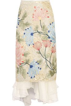 Biyan Mirea embroidered brocade and silk-organza midi skirt | THE OUTNET
