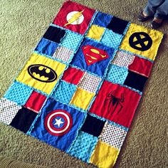 super hero quilt.....my son would love this.  I think I found my summer project