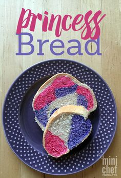 Any little girl will love this fun, colorful princess bread! It looks like a normal loaf until you cut into it, and then you cant miss the swirls of pink and purple. My three year old daughter loves having this bread as a special treat for her sandwich at lunch. How cute would this be to make little sandwiches for a tea party?