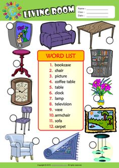 Living Room Number the Pictures ESL Vocabulary Worksheet