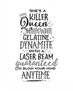 Printable Art Shes a Killer Queen Gunpowder Gelatine Dynamite Music Lyric Song T. - Printable Art Shes a Killer Queen Gunpowder Gelatine Dynamite Music Lyric Song Typography Quote Pri - Killer Queen, The Words, Letras Queen, New Quotes, Inspirational Quotes, Good Quotes From Songs, Change Quotes, Poetry Quotes, Qoutes