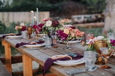 Modern Gypsy Vow Renewal Inspiration with jewel tones tablescape