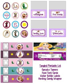 Disney Princess Rapunzel Tangled Birthday Party Printable Lot Favors and More