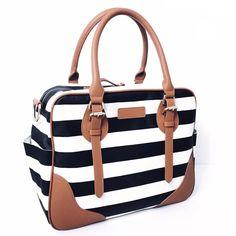Coco and Kiwi Provence 5 - Piece Diaper Bag - Ebony Stripe Diaper Bag Backpack, Backpack Straps, Tote Bag, Cute Diaper Bags, Car Seat And Stroller, Safari, Black Backpack, Baby Gear, Black Stripes