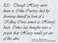 Oh my god.  Oh ny god. Oh my god. Poor Colin. I wish they had been nicer to him. He saved Harry's life and no one knows