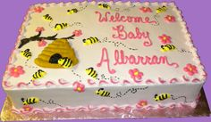 bumble bee sheet cakes   Baby Shower Cakes