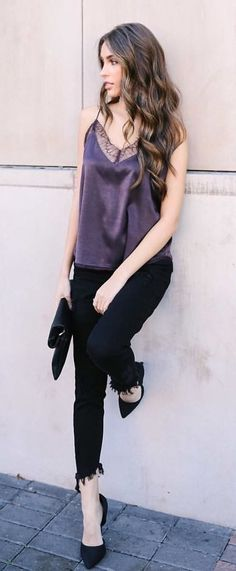 38 The Best Purple Outfits Ideas For Spring And Summer Cute Winter Outfits, Stylish Outfits, Spring Outfits, Cute Outfits, Purple Outfits, Autumn Fashion Casual, Fashion Dresses, Women's Fashion, Pants For Women