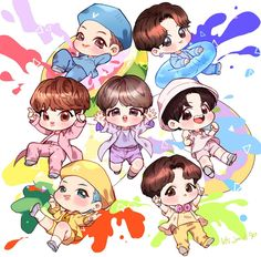 Bts Chibi, Anime Chibi, Kawaii Anime, Fanart Bts, Yoonmin Fanart, Chibi Wallpaper, Cartoon Wallpaper, Bts Drawings, Kawaii Drawings
