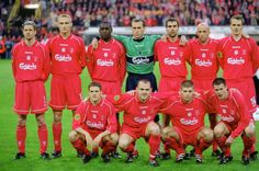 Football UEFA Cup Final May 2001 Dortmund Germany Liverpool 5 v Deportivo Alaves 4 The Liverpool team lineup prior to the match Back Row LR. Kenny Dalglish, Xabi Alonso, Anfield Liverpool, Liverpool Football Club, Mohamed Salah, Squad Photos, Team Photos, Steven Gerrard, Free Football