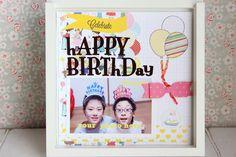 スクラップブッキングです。 6インチの作品です。 (約15cm×15cm) タイトルは「HAPPY BIRTHDAY」。 お誕生日の写真を貼ってく...|ハンドメイド、手作り、手仕事品の通販・販売・購入ならCreema。