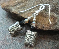 Handmade Earrings Bali Sterling Silver Black Onyx by JensFancy, $28.00
