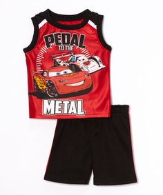 Red 'Pedal To The Metal' Cars Tank & Shorts - Infant