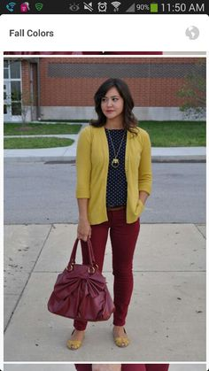 Maroon pants outfit.