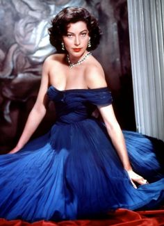 Ava Gardner dazzles in this blue gown. I think the color is perfect for her.