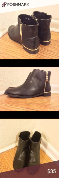 """New York & Company Faux Leather Ankle Boots New York & Company Faux Leather Black Ankle Boots. Stacked Heel at 1 1/2"""" heel. Only Worn a few times. In great condition! Looks brand new. These are very versatile boots that you can wear from work to weekend! No Trades!!! New York & Company Shoes Ankle Boots & Booties"""