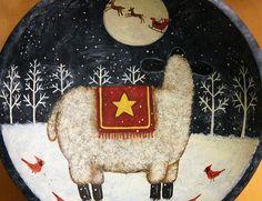 Christmas Folk Art Original Winter Scene Hand by Ravensbend, $18.00