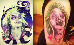 First of all why would you want a Beetlejuice Tattoo? Secondly it looks like crap.