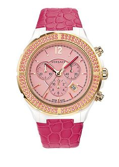 The Versace DV one cruise Watch in pink. #VersaceWatches #Versace