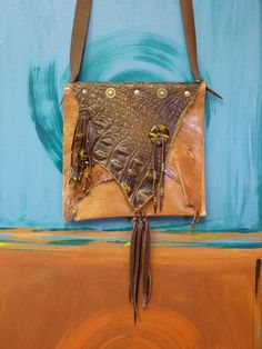 Brown Leather Bag ~ Native Purse Western bag Handcrafted by Stacey Arcangel owner of #GoddessesUnlimited. Made with Fine Italian leather & Tiger Eye gemstones
