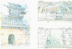 Film: Spirited Away (千と千尋の神隠し) ===== Layout Design - Scene: The Abandoned Theme Park ===== Hayao Miyazaki