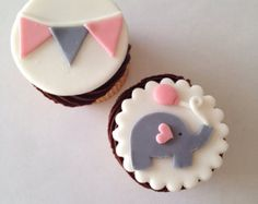 Elephant and Bunting Fondant Cupcake Toppers von WellDressedCupcake