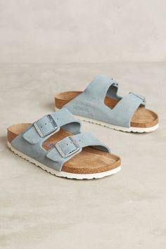 Add some hippie style to your wardrobe with suede sky blue Birkenstock slides