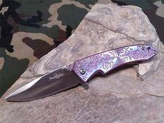 Femme Fatale Spring Assisted Folding Knife Purple Rose Textured 03PE