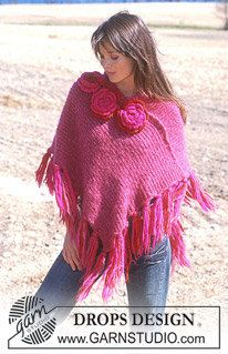 Hand Knit Poncho with Flower Applique   Sizes S by KnuttinButYarn, $179.99