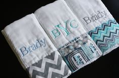 THREE Personalized / Monogrammed Burp Cloths by TBRCustomCuteness, $29.00