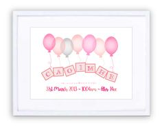 Up, Up & Away Pinks Personalised Prints, New Beginnings, Framed Prints, Pink, Pink Hair, Roses