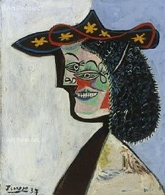 Nusch Éluard by Pablo Picasso (Spain 1881~1973 France) | Nusch Éluard (1906~1946) was one of the most beloved figures of the Surrealists; French performer, model and surrealist artist. As the wife of Paul Éluard, she became 'The Muse' of Picasso, Man Ray, René Magritte, and Joan Miró...