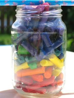 Broken crayons in a mason jar with a long string. Place it outside on a hot day. Have the kids keep checking on it as it melts in to an awesome candle!