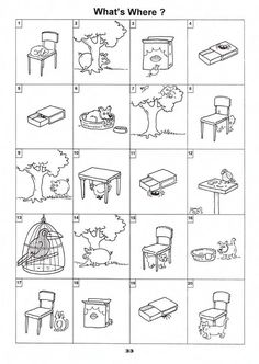 What is Where (Basic ESL Worksheet practicing on, behind, in, out etc. English Prepositions, English Grammar Worksheets, English Vocabulary, Speech Language Therapy, Speech Therapy Activities, Speech And Language, Teaching French, Teaching English, English Lessons