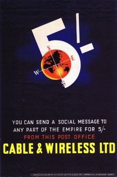 Social Message Cable & Wireless, 1930s - original vintage poster listed on AntikBar.co.uk
