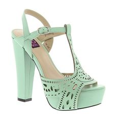 Mojo Moxy Daydream (145 BRL) ❤ liked on Polyvore featuring shoes, sandals, mint, mint green shoes, mint sandals, strappy shoes, high heel sandals y mint high heel shoes