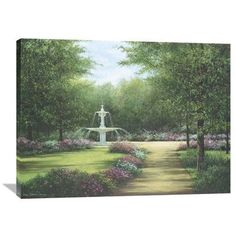 Global Gallery 'Park Fountain' by Lene Alston Casey Original Painting on Wrapped Canvas Size: