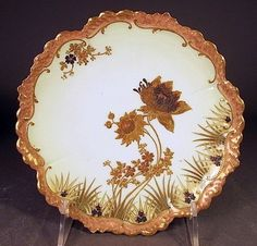 FINE Hand Painted Cabinet Plate Thick Paste Gold Limoges Bailey, Banks & Biddle A very fine hand painted cabinet plate, having  sea life  motif, nice thick paste gold on the rim in turquoise, no chips