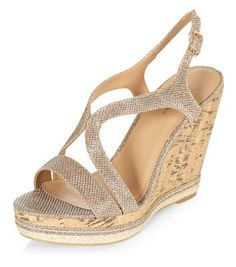 Fell in love with these! New Look Gold Glitter Strappy Cork Wedges #wedges #women #covetme