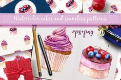 In this package you'll find 3 vectorized hand drawn watercolor cakes, isolated on white background and 6 seamless patterns. What you get: 1) EPS 8 files (6 patterns, 3 cakes) 2) PSD files (3 cakes,3000x3000, 300 dpi, all elements are on separate isolated layers) 3) PNG files (3 cakes,3000x3000, 300 dpi, transparent background, all elements are on separate isolated layers) 4) JPEG images (6 patterns, 3 cakes,3000x300  https://thehungryjpeg.com/product/28918-watercolor-cakes-vector-set/tit