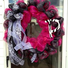 Zebra initial wreath hot pink black poly deco mesh